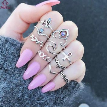 Heeda Kpop Vintage Purple Crystal Rings Set Retro Tibetan Bijoux for Women Hollow Out Punk Metal Party Boho Bohemia Hand Jewerly