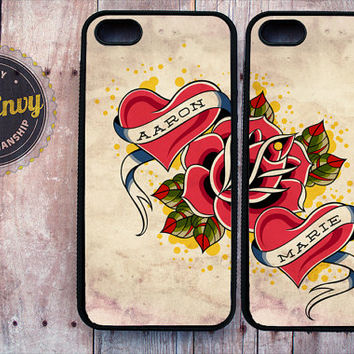 2 Vintage Tattoo Heart & Rose Customizable iPhone 5 / 5s case