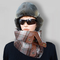Brown White Ajustable Men Women Unisex Wool Scarf Cozy Cowl with Snaps and Natural Leather by Elena Joliefleur