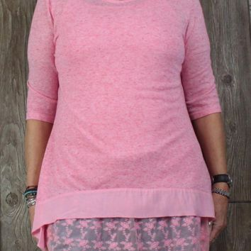 Simply Noelle New Tunic Top L XL 12 14 size Pink Lace Cami 2pc