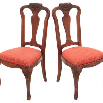 Queen Anne-Style  Side Chairs, Pair