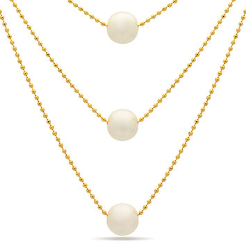 Three Pearl Dainty Necklace,14K Gold Plater Bridal Layered Pearl Necklace
