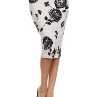 Rose Print High Waist Midi Skirt