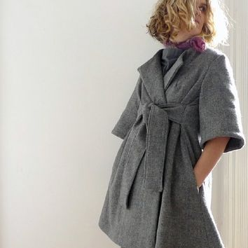 Supermarket - grey/blue check wool wrap coat from 13threads