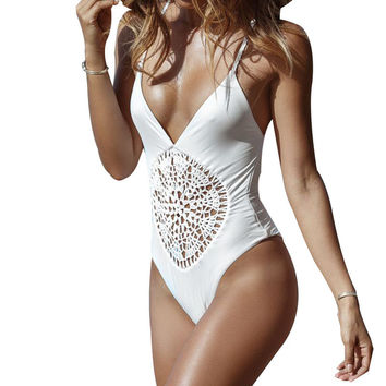 Vintage One Piece Deep V Crochet Monokini Swim Suit Swimwear Halter Neck Bodysuit