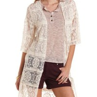 Ivory Embroidered Mesh Duster Kimono Top by Charlotte Russe