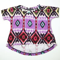Cherry aztec print asymetrical baby girl t-shirt