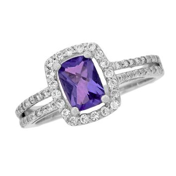 .80 Ct Cushion Purple Amethyst and White Sapphire Ring in Sterling Silver