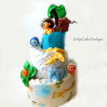 Jungle Diaper Cake Safari Baby Shower Diaper Cake Girl Diaper Cake Boy Diaper Cake Centerpiece Diaper Cake Baby Shower Safari Diaper Cake