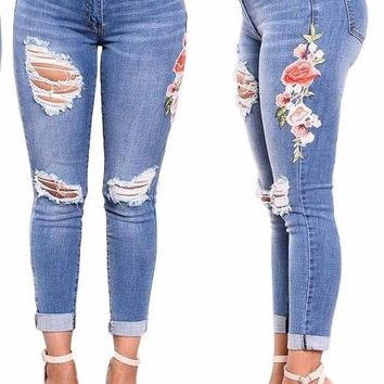 Women's Distressed Cutout Side Floral Embroidered Denim Ripped Stretch Jeans