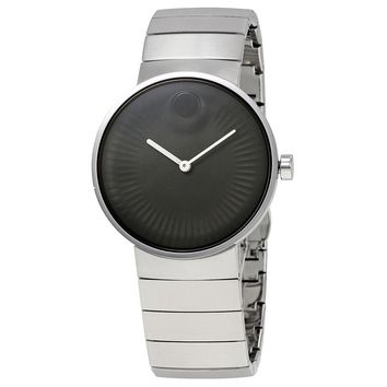 Movado Edge Black Dial Stainless Steel Mens Watch 3680006