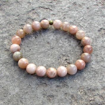 Independence and Joy, Genuine Sunstone Mala Bracelet