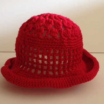 crochet bucket hat, toddler hats, red wide brim hat, crochet hat, ladies hats, knit hat, baby girl hats, handmade red fascinator hats