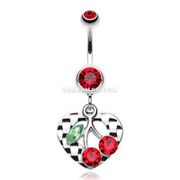 Charming Cherry Heart Belly Ring (Red)