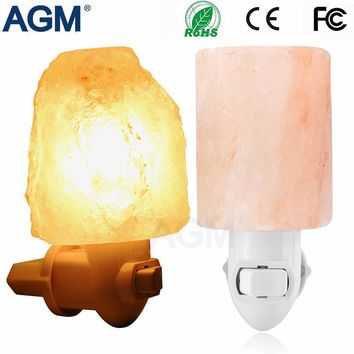 Hot Cylinder Natural Shaped Rorate Himalayan Salt Lamp Air Purifier Crystal Salt Rock Bedside lamp Night Light For Aisle Bedroom