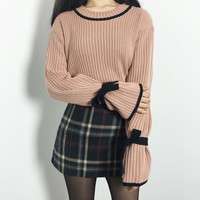 Ribbon Detailed Sleeves Knit Sweater | MIXXMIX