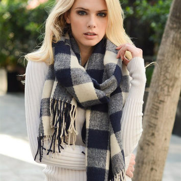Buffalo Check Tassel Scarf-Navy
