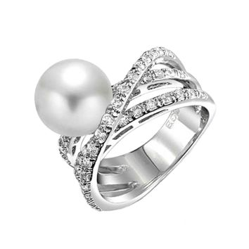 Criss Cross Pave CZ Solitaire White Simulated Pearl Statement Ring