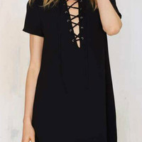 Black Plunge Lace Up Front Short Sleeve Dress