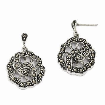 Sterling Silver Marcasite Floral Dangle Post Earrings