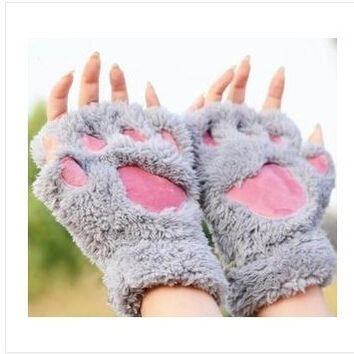 Fluffy Bear/Cat Plush Paw/Claw Glove-Novelty  Halloween soft toweling lady's half covered gloves mittens [8403189895]