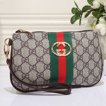 Gucci Women Leather Zipper Shopping Purse Wallet
