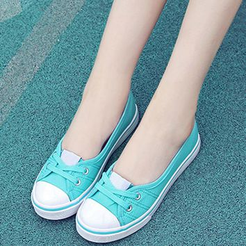 Women Fashion Shallow Loafers Canvas Shoes Casual Flats Slip On Student Shoes