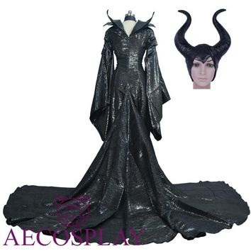 New Halloween Costume Maleficent Cosplay Costume Black Witch Dress Women Costume