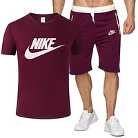 NIKE Summer New Fashion Letter Hook Print Sports Leisure Top And Shorts Two Piece Suit Men Burgundy