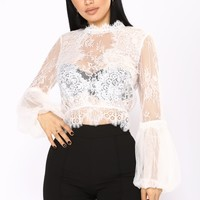 No Promises Bubble Sleeve Top - White