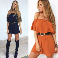 New summer women's strapless off the shoulder tunic loose ruffles party mini dress without belt