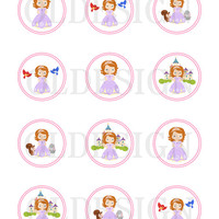 Princess Sofia the First birthday Stickers, Cupcake Topper, Tags. Birthday partys. Digital file