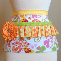 Chic Botanical Vendor Half Apron/ Utility/ Teacher's Gift/ Waitress/ Tool Belt/ Yellow, Orange, Lime Colors, 3 Deep Pockets