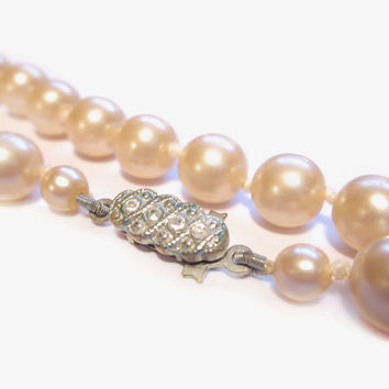 Vintage Pearl Bead Necklace, Ivory Glass, Rhinestone Clasp