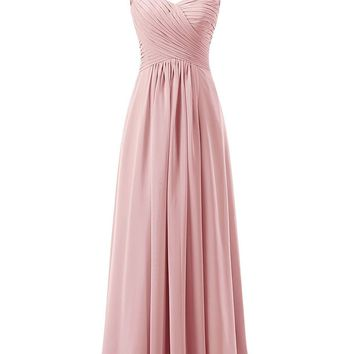 Ubridal Women's Lace Straps Chiffon Bridesmaid Dresses Long Wedding Party Gowns