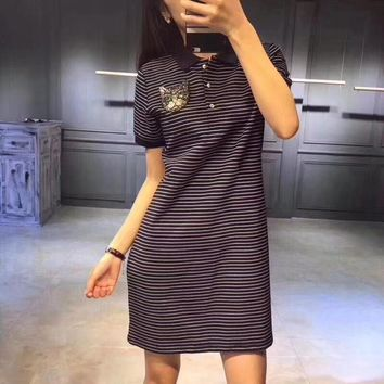 gucci fashion casual lapel sequin cat head stripe short sleeve polo shirt dress