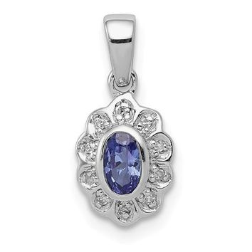 Sterling Silver Oval Tanzanite And Diamond Flower Style Pendant