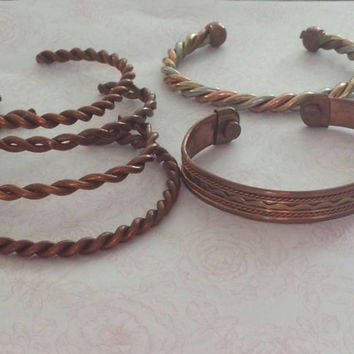 bracelet bangle copper twisted bangle six bracelets layer bracelet silver tone and copper tribal