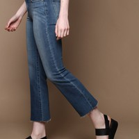 Scissor Cut Cropped Flare Jeans - Medium Wash
