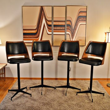 RARE Mid Century Wood Back Brody Bar Stools - Set of 4