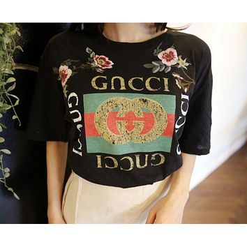 GUCCI Fashion Roses Print Short Sleeve Tunic Shirt Top Blouse
