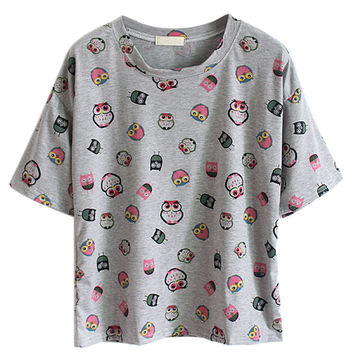Gray Short Sleeve T-Shirt with multi Colored Owl Print