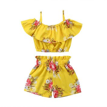 2pcs Beachwear Toddler Baby Girl Clothes Floral Ruffled Top Vest ?+ Shorts pant  Summer Outfits Set beach cloth
