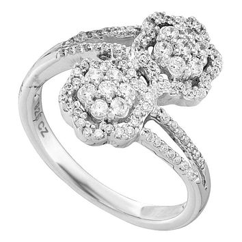 14kt White Gold Women's Round Diamond Double Bypass Flower Cluster Ring 1/2 Cttw - FREE Shipping (US/CAN)
