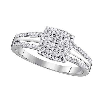 10kt White Gold Womens Round Diamond Square Cluster Bridal Wedding Engagement Ring 1-4 Cttw