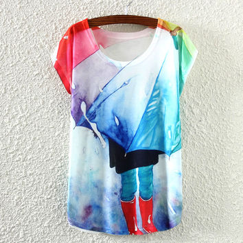 White Short Sleeve Printed T-Shirt