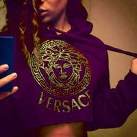 PEAPON ' VERSACE '' Casual Long Sleeve Crop Top Sweater Pullover Hoodie