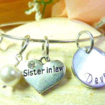 Sister in Law bracelet Personalized Bracelet Sister in Law Jewelry Expandable Hand stamped Jewelry