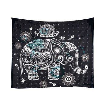 Indian Tapestry Yoga Decor by Mandala Zen Wall Meditation Batik Elephant Pattern Tapestry Indian Hanging Dorm Decorations