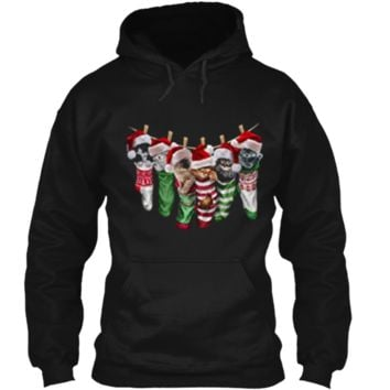 Cute Sleepy Santa Kittens in Christmas Socks Cat Pullover Hoodie 8 oz